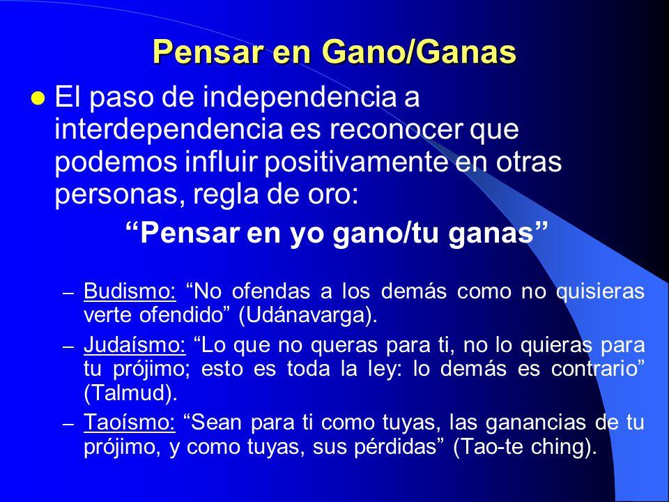 C U A R T O H Á B I T O PENSAR EN GANO/GANAS PRINCIPIO DE LIDERAZGO INTERPERSONAL