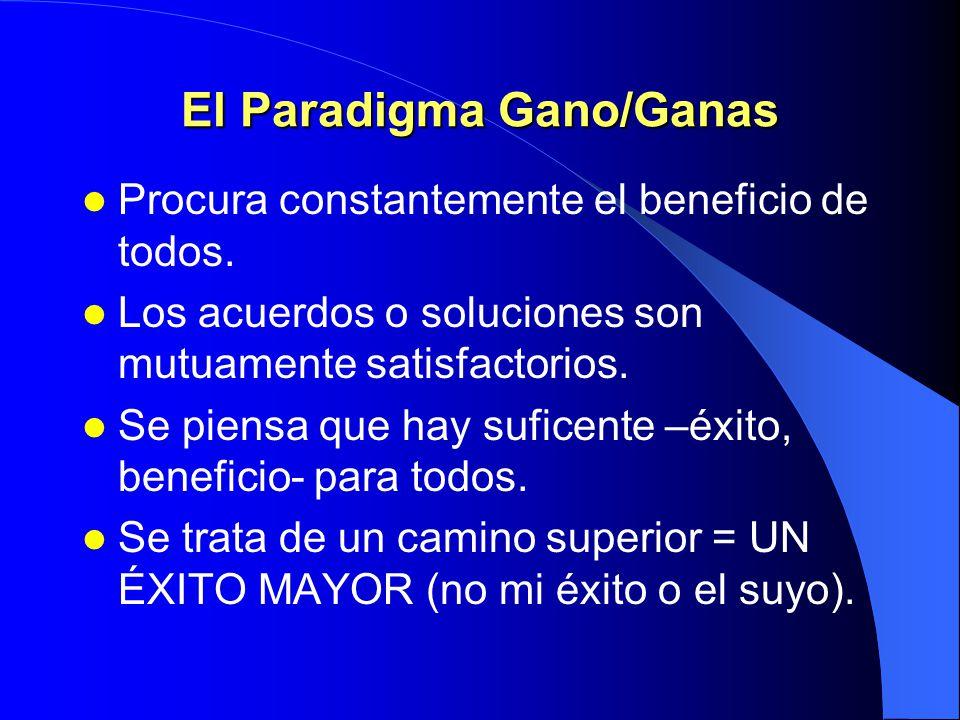 Seis paradigmas de interacción GANO/GANAS PIERDO/GANAS GANO GANO/PIERDES PIERDO/PIERDES GANO/GANAS (o no hay trato)
