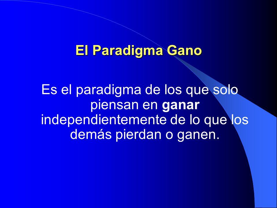 El Paradigma Pierdo/Pierdes Resulta de dos personas del tipo Gano/pierdes, porque ambos pierden. Se vuelven vengativos por recobrar lo que piensan les