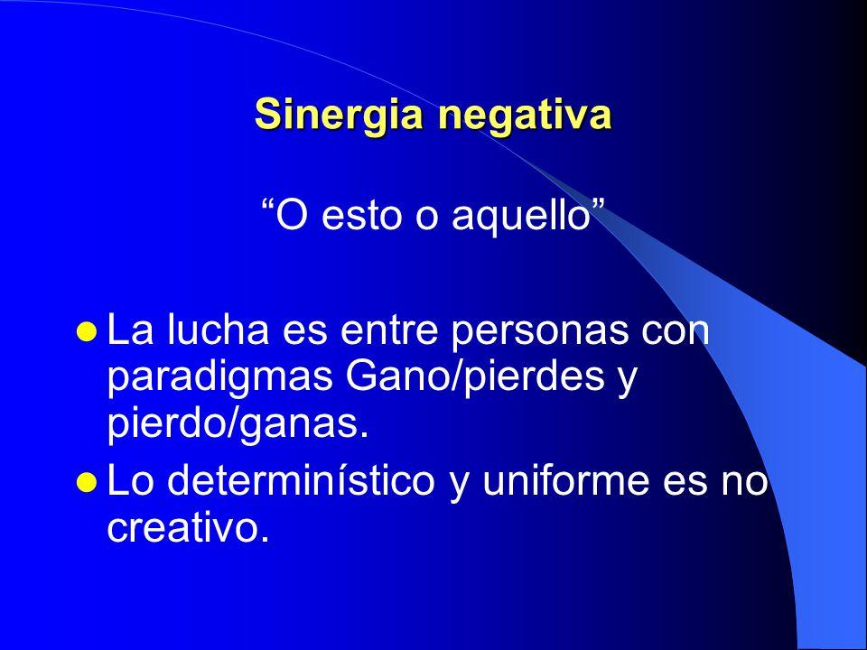 Ejemplos de sinergia La sinergia significa que 1 + 1 puede ser 5 ó 28, dependiendo de nosotros. Recuerde que tiene la opción no hay trato cuando el ob