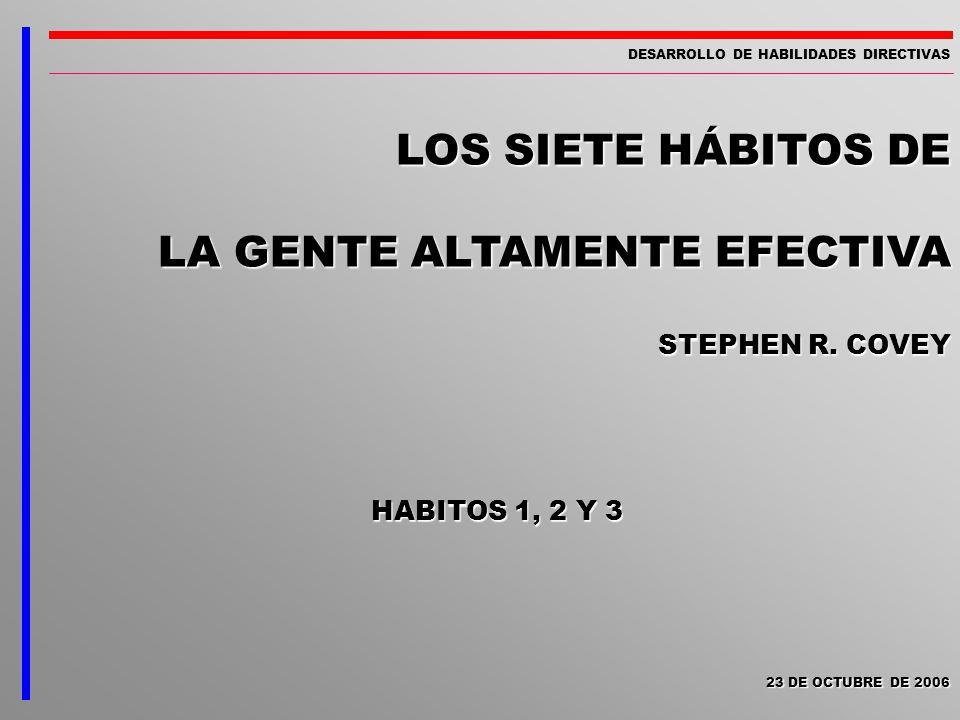 LOS SIETE HÁBITOS DE LA GENTE ALTAMENTE EFECTIVA STEPHEN R. COVEY DESARROLLO DE HABILIDADES DIRECTIVAS HABITOS 1, 2 Y 3 23 DE OCTUBRE DE 2006 23 DE OC