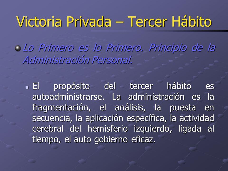Victoria Privada – Tercer Hábito Lo Primero es lo Primero. Principio de la Administración Personal. El propósito del tercer hábito es autoadministrars