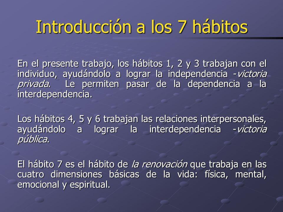 En el presente trabajo, los hábitos 1, 2 y 3 trabajan con el individuo, ayudándolo a lograr la independencia -victoria privada. Le permiten pasar de l