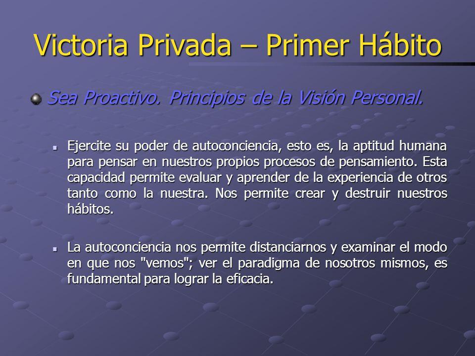 Victoria Privada – Primer Hábito Sea Proactivo. Principios de la Visión Personal. Ejercite su poder de autoconciencia, esto es, la aptitud humana para