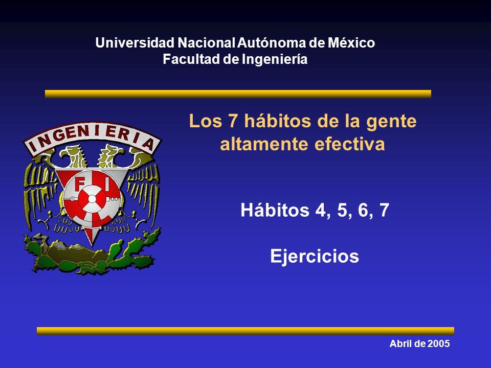 Universidad Nacional Autónoma de México Facultad de Ingeniería Los 7 hábitos de la gente altamente efectiva Abril de 2005 Hábitos 4, 5, 6, 7 Ejercicio