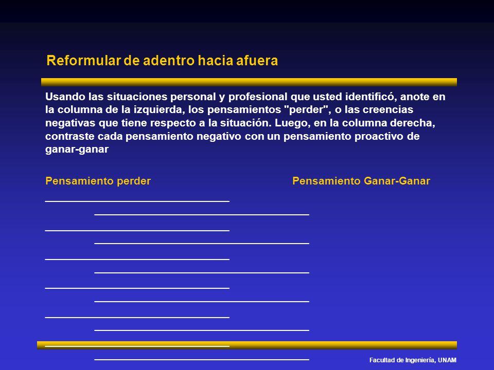 Facultad de Ingeniería, UNAM Reformular de adentro hacia afuera Usando las situaciones personal y profesional que usted identificó, anote en la column