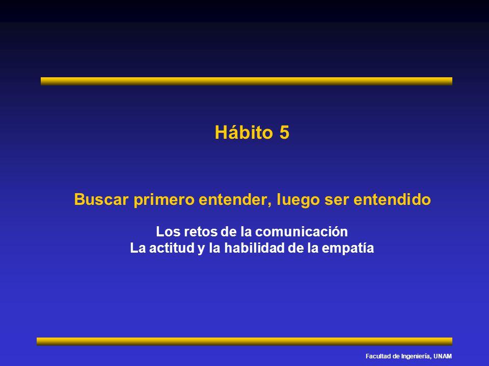 Facultad de Ingeniería, UNAM Hábito 5 Buscar primero entender, luego ser entendido Los retos de la comunicación La actitud y la habilidad de la empatí
