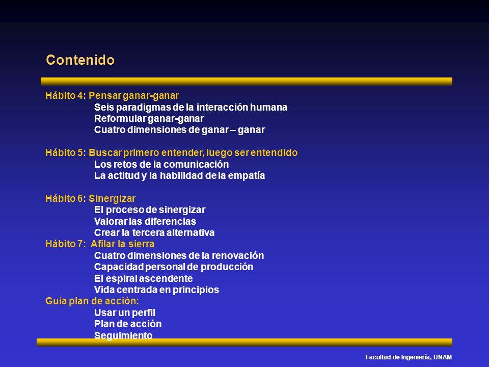Facultad de Ingeniería, UNAM Hábito 4: Pensar ganar-ganar Seis paradigmas de la interacción humana Reformular ganar-ganar Cuatro dimensiones de ganar – ganar