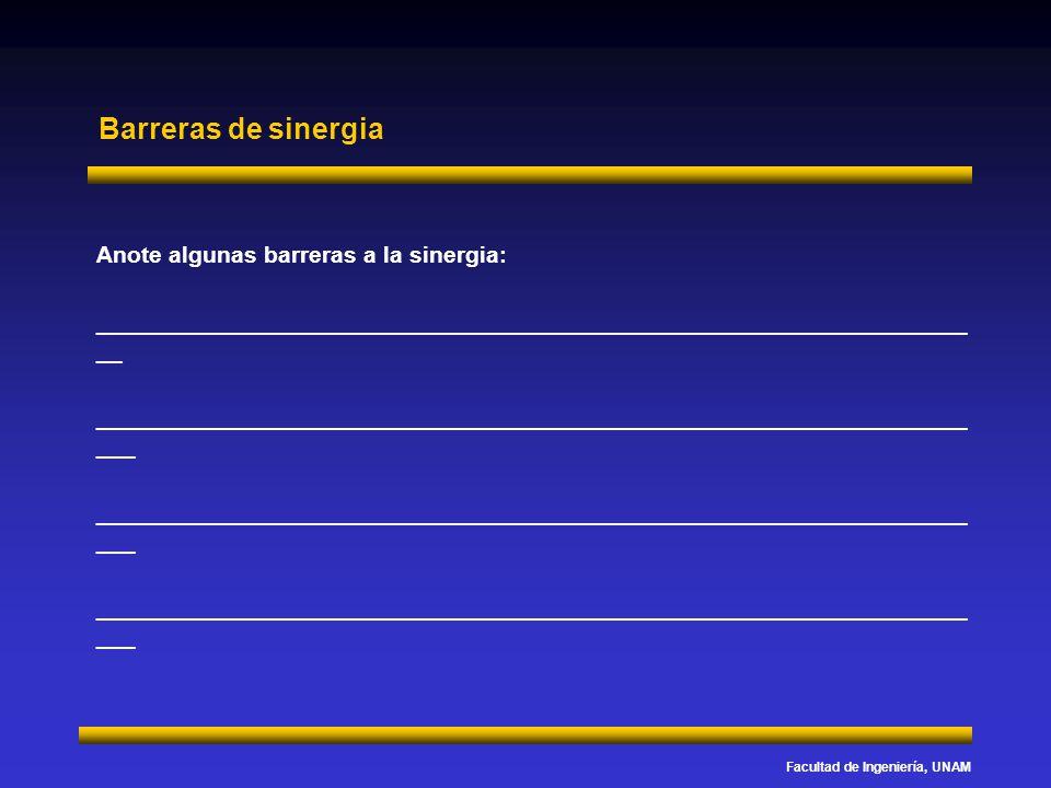 Facultad de Ingeniería, UNAM Barreras de sinergia Anote algunas barreras a la sinergia: ______________________________________________________________