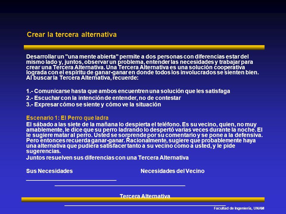 Facultad de Ingeniería, UNAM Crear la tercera alternativa Desarrollar un