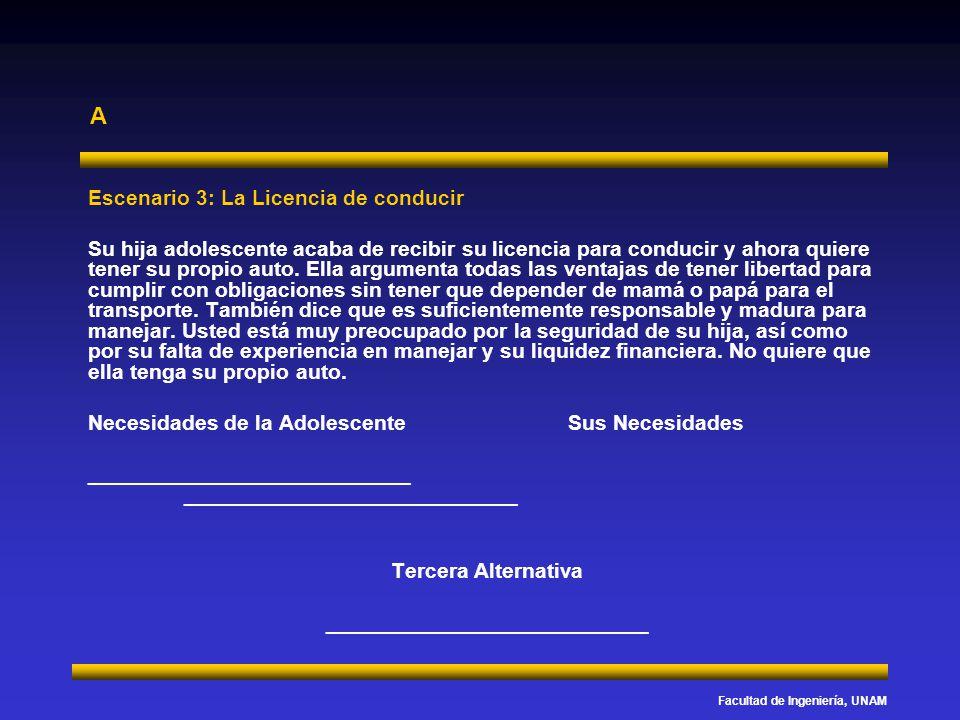 Facultad de Ingeniería, UNAM A Escenario 3: La Licencia de conducir Su hija adolescente acaba de recibir su licencia para conducir y ahora quiere tene