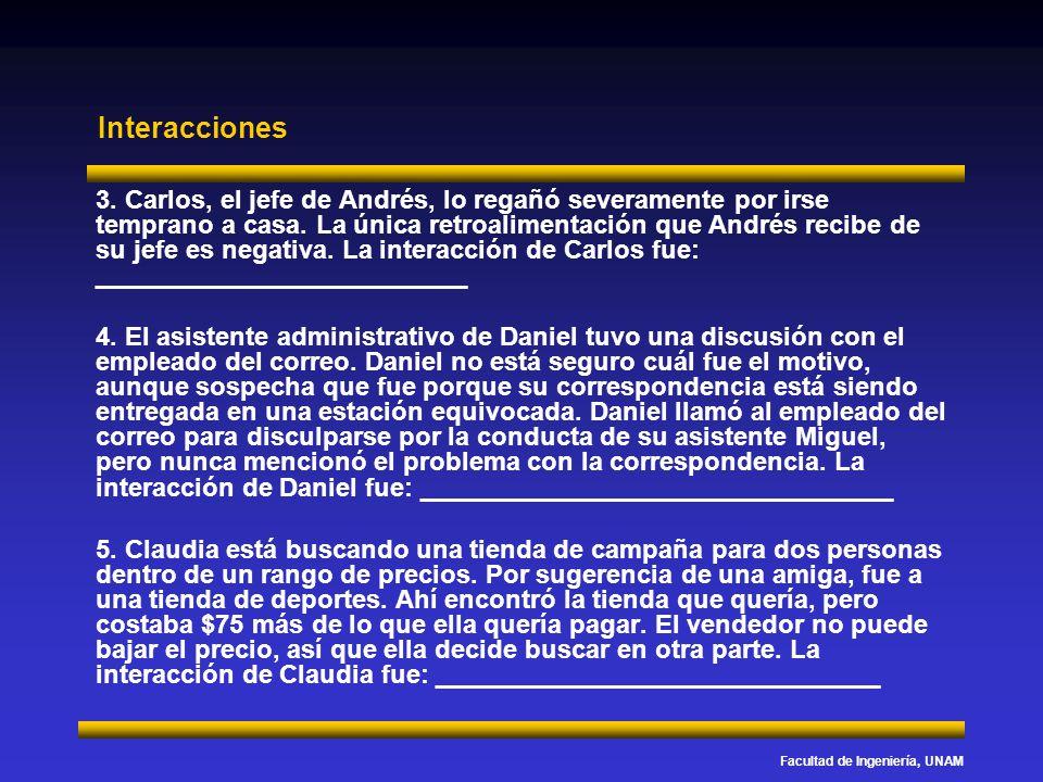 Facultad de Ingeniería, UNAM Interacciones 3. Carlos, el jefe de Andrés, lo regañó severamente por irse temprano a casa. La única retroalimentación qu