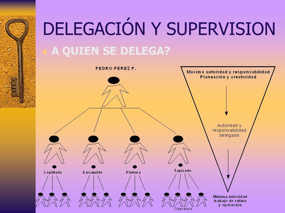 DELEGACIÓN Y SUPERVISION A QUIEN SE DELEGA?