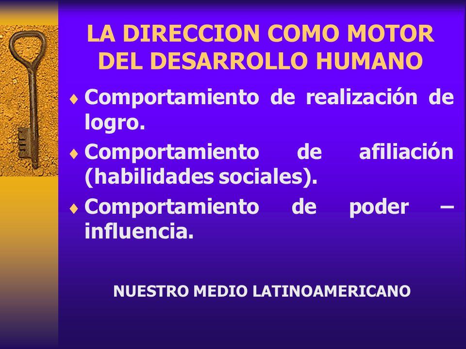 LA DIRECCION COMO MOTOR DEL DESARROLLO HUMANO Comportamiento de realización de logro.