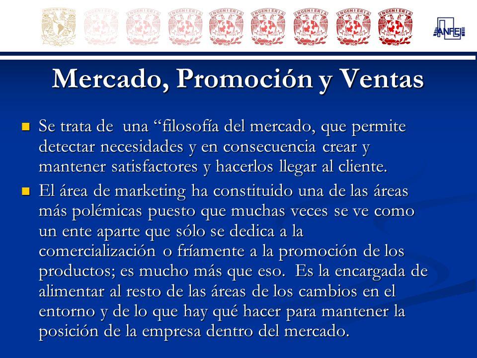 Mercado, Promoción y Ventas Se trata de una filosofía del mercado, que permite detectar necesidades y en consecuencia crear y mantener satisfactores y