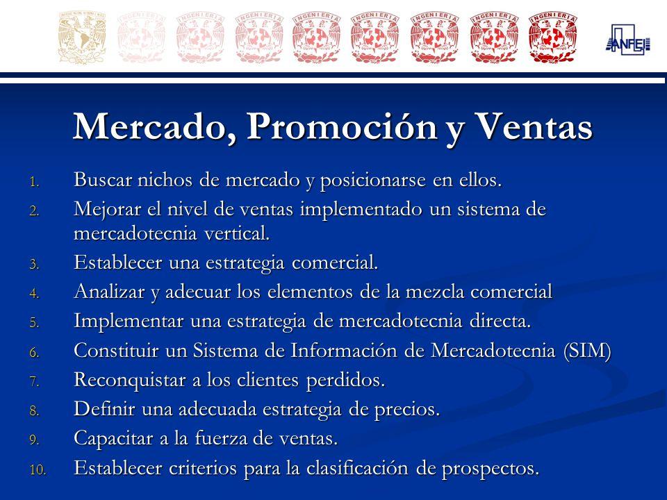 Mercado, Promoción y Ventas 1. Buscar nichos de mercado y posicionarse en ellos. 2. Mejorar el nivel de ventas implementado un sistema de mercadotecni
