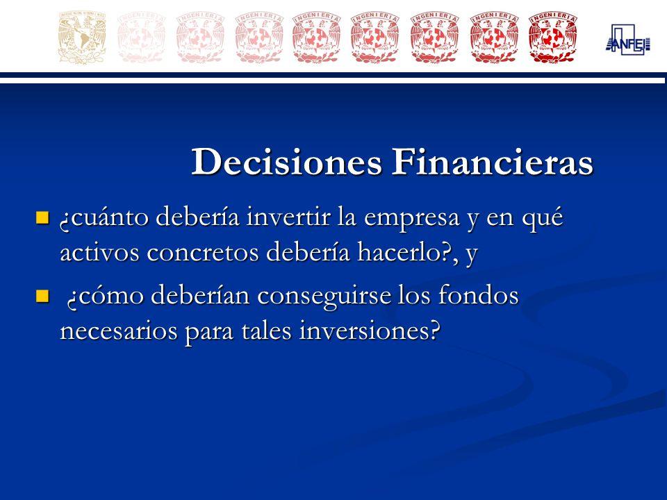 Decisiones Financieras ¿cuánto debería invertir la empresa y en qué activos concretos debería hacerlo?, y ¿cuánto debería invertir la empresa y en qué