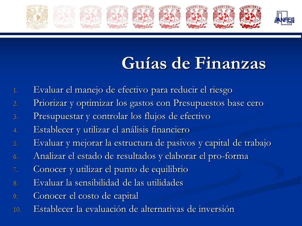 Guías de Finanzas 1. Evaluar el manejo de efectivo para reducir el riesgo 2. Priorizar y optimizar los gastos con Presupuestos base cero 3. Presupuest