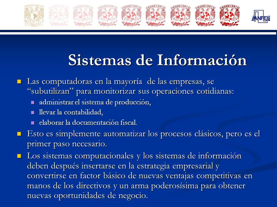 Sistemas de Información Las computadoras en la mayoría de las empresas, se subutilizan para monitorizar sus operaciones cotidianas: Las computadoras e