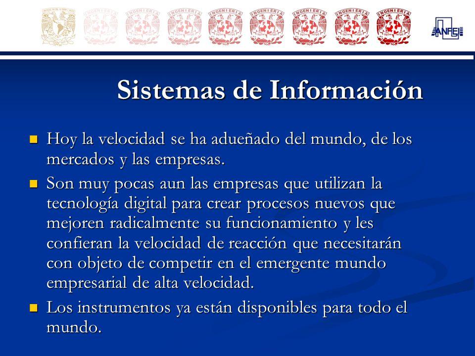 Sistemas de Información Hoy la velocidad se ha adueñado del mundo, de los mercados y las empresas. Hoy la velocidad se ha adueñado del mundo, de los m