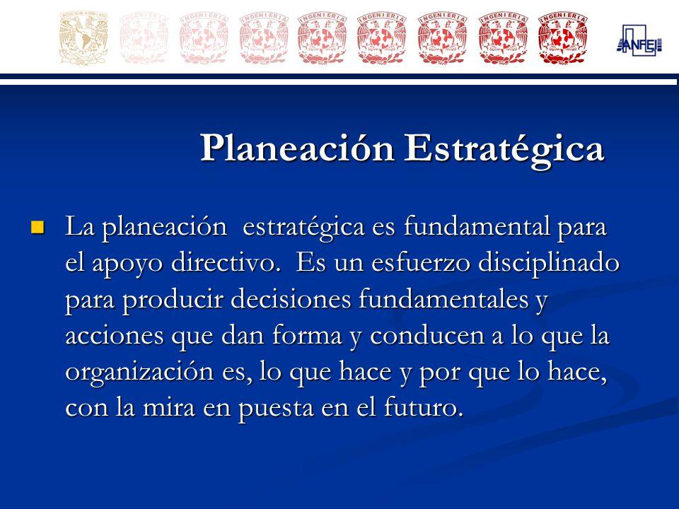 Planeación Estratégica La planeación estratégica es fundamental para el apoyo directivo. Es un esfuerzo disciplinado para producir decisiones fundamen