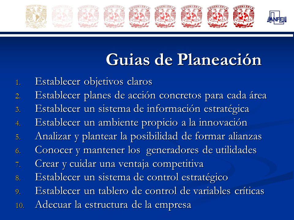 Guias de Planeación 1. Establecer objetivos claros 2. Establecer planes de acción concretos para cada área 3. Establecer un sistema de información est