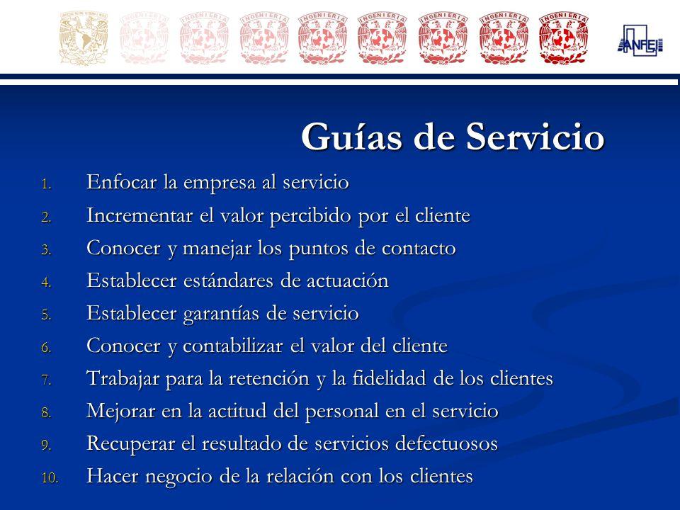 Guías de Servicio 1. Enfocar la empresa al servicio 2. Incrementar el valor percibido por el cliente 3. Conocer y manejar los puntos de contacto 4. Es
