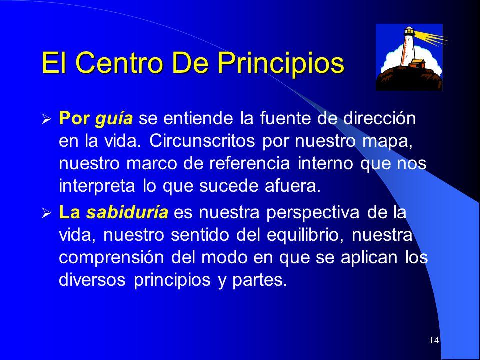 14 El Centro De Principios Por guía se entiende la fuente de dirección en la vida. Circunscritos por nuestro mapa, nuestro marco de referencia interno