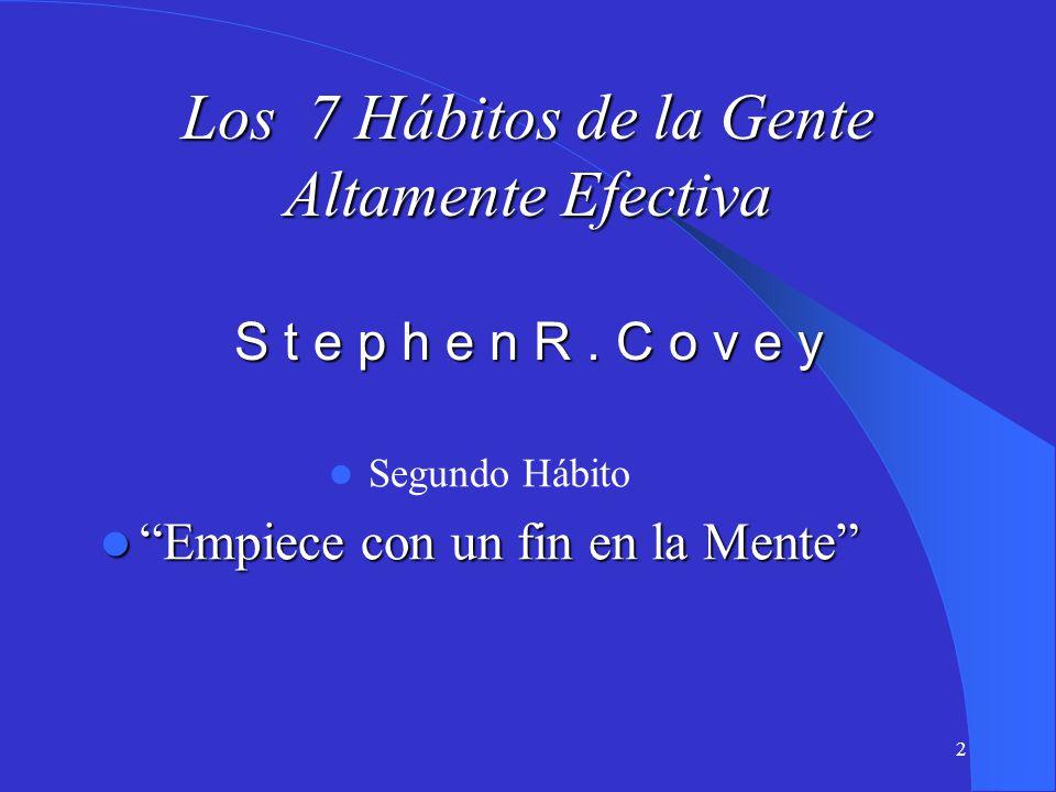 2 Los 7 Hábitos de la Gente Altamente Efectiva S t e p h e n R. C o v e y Segundo Hábito Empiece con un fin en la Mente Empiece con un fin en la Mente