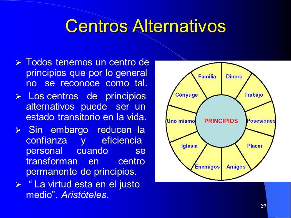 27 Centros Alternativos Todos tenemos un centro de principios que por lo general no se reconoce como tal. Los centros de principios alternativos puede