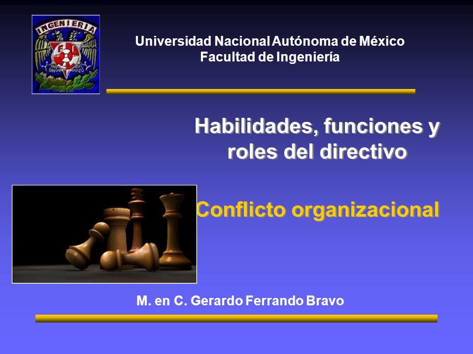 Universidad Nacional Autónoma de México Facultad de Ingeniería Habilidades, funciones y roles del directivo Conflicto organizacional Habilidades, func