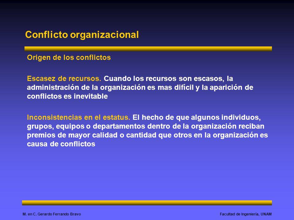 Facultad de Ingeniería, UNAMM. en C. Gerardo Ferrando Bravo Conflicto organizacional Origen de los conflictos Escasez de recursos. Cuando los recursos