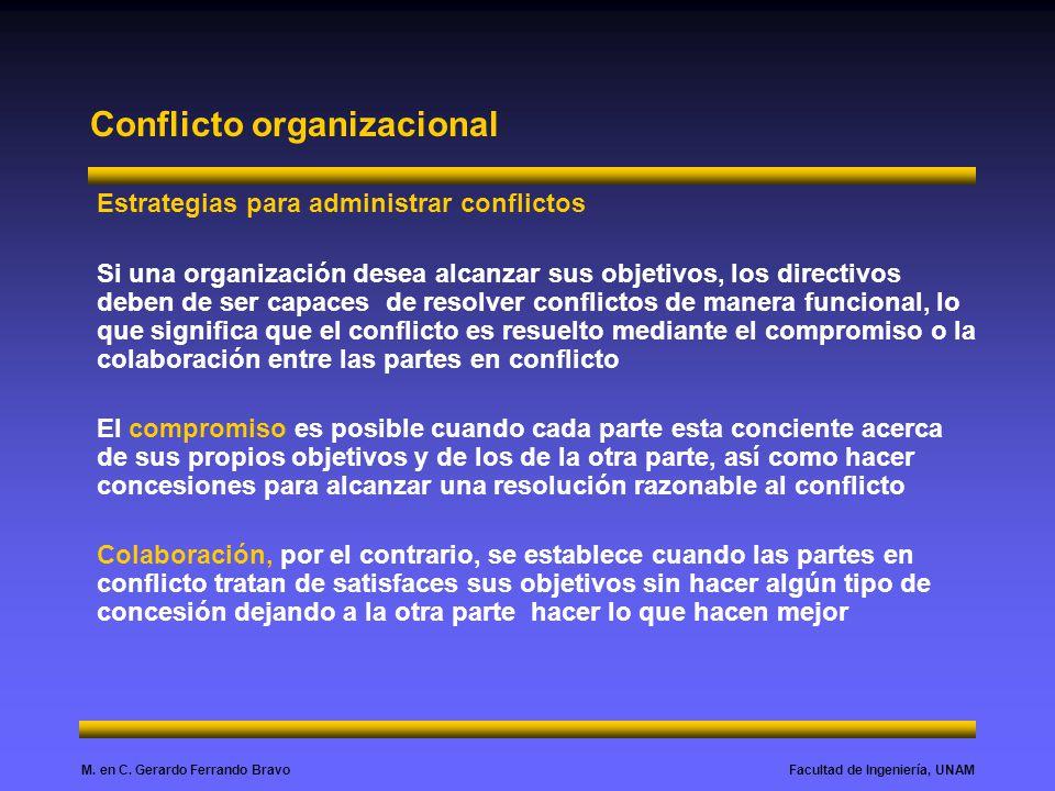 Facultad de Ingeniería, UNAMM. en C. Gerardo Ferrando Bravo Conflicto organizacional Estrategias para administrar conflictos Si una organización desea