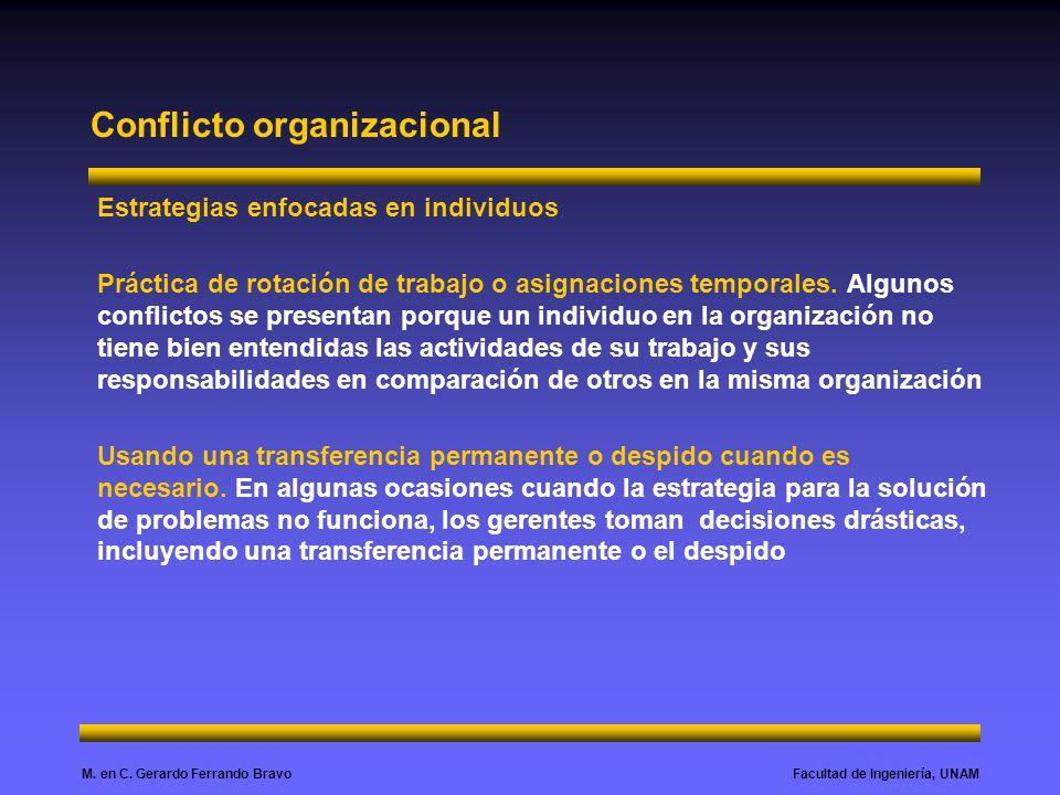 Facultad de Ingeniería, UNAMM. en C. Gerardo Ferrando Bravo Conflicto organizacional Estrategias enfocadas en individuos Práctica de rotación de traba