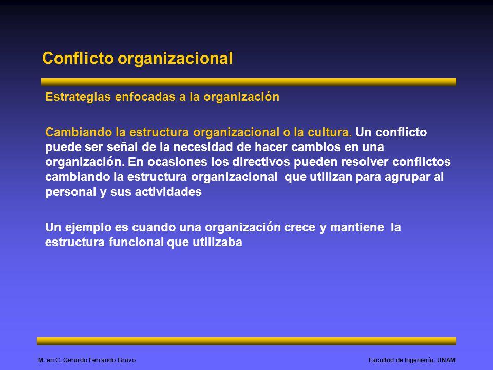 Facultad de Ingeniería, UNAMM. en C. Gerardo Ferrando Bravo Conflicto organizacional Estrategias enfocadas a la organización Cambiando la estructura o