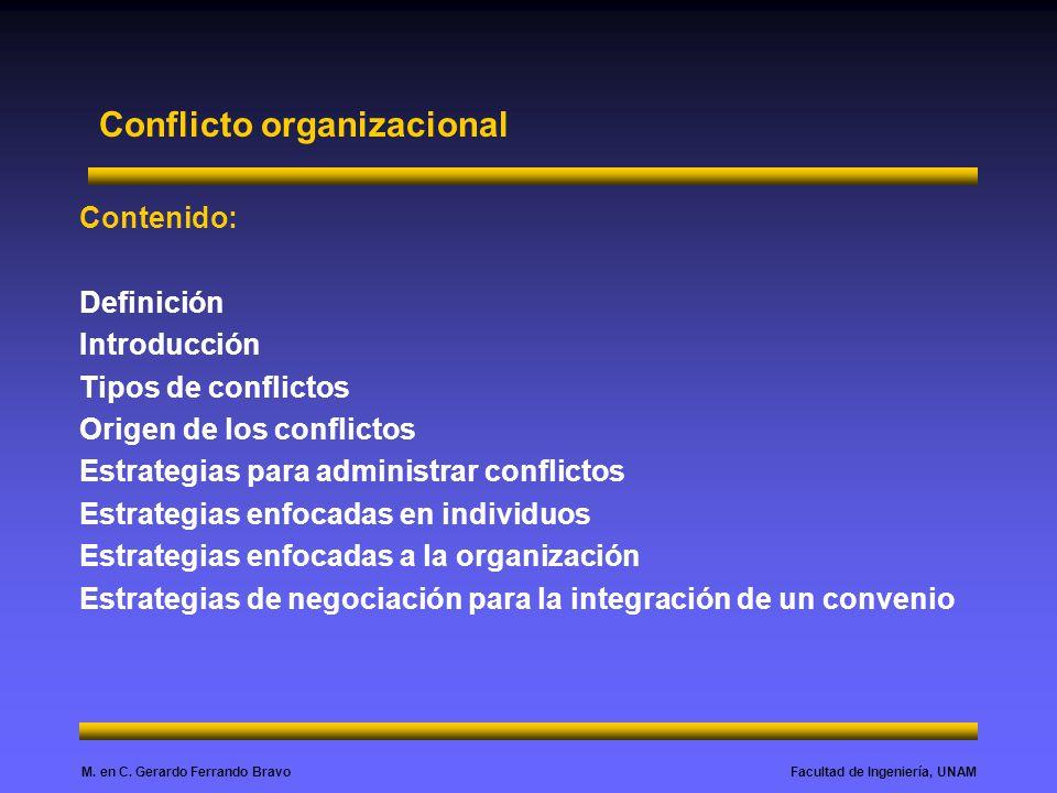 Facultad de Ingeniería, UNAMM. en C. Gerardo Ferrando Bravo Conflicto organizacional Contenido: Definición Introducción Tipos de conflictos Origen de
