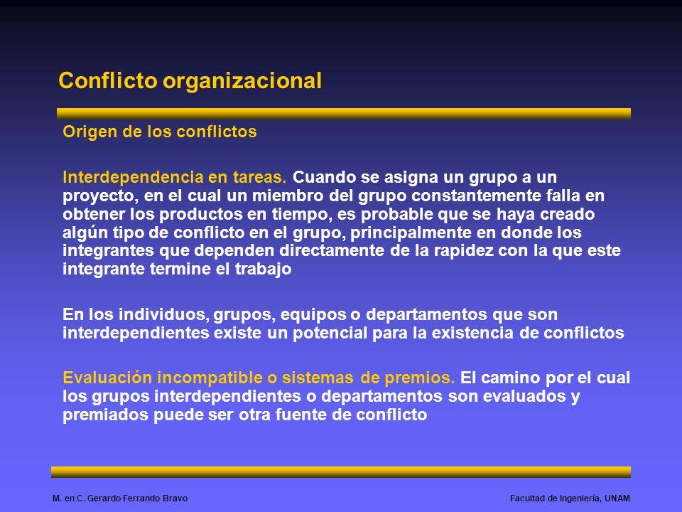Facultad de Ingeniería, UNAMM. en C. Gerardo Ferrando Bravo Conflicto organizacional Origen de los conflictos Interdependencia en tareas. Cuando se as