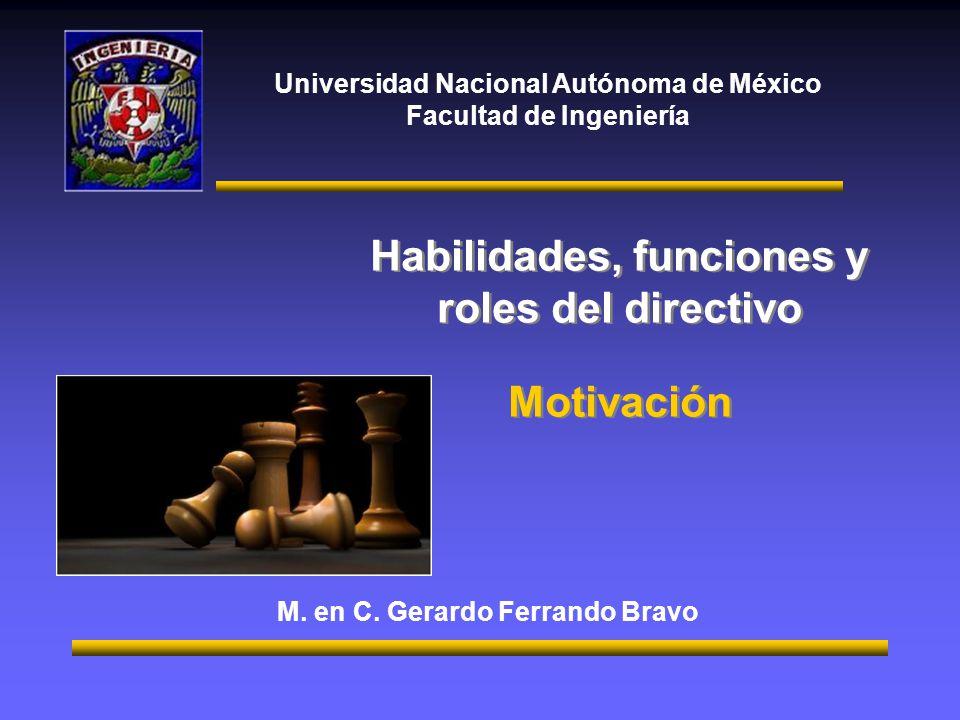 Universidad Nacional Autónoma de México Facultad de Ingeniería Habilidades, funciones y roles del directivo Motivación Habilidades, funciones y roles