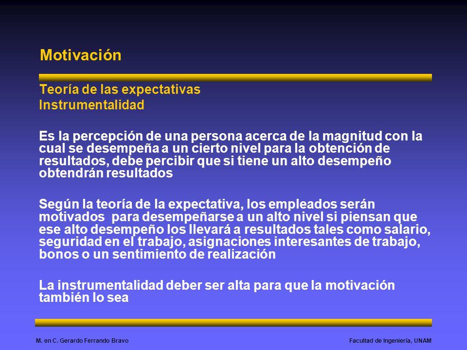 Facultad de Ingeniería, UNAMM. en C. Gerardo Ferrando Bravo Motivación Teoría de las expectativas Instrumentalidad Es la percepción de una persona ace