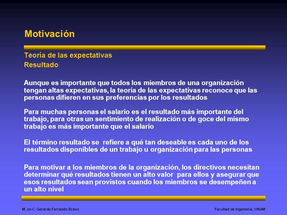 Facultad de Ingeniería, UNAMM. en C. Gerardo Ferrando Bravo Motivación Teoría de las expectativas Resultado Aunque es importante que todos los miembro