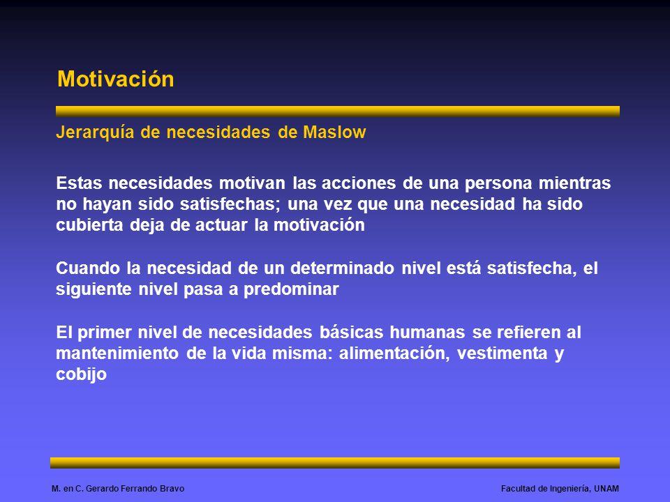 Facultad de Ingeniería, UNAMM. en C. Gerardo Ferrando Bravo Motivación Jerarquía de necesidades de Maslow Estas necesidades motivan las acciones de un