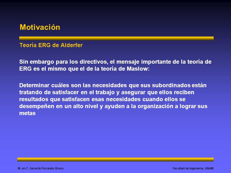 Facultad de Ingeniería, UNAMM. en C. Gerardo Ferrando Bravo Motivación Teoría ERG de Alderfer Sin embargo para los directivos, el mensaje importante d