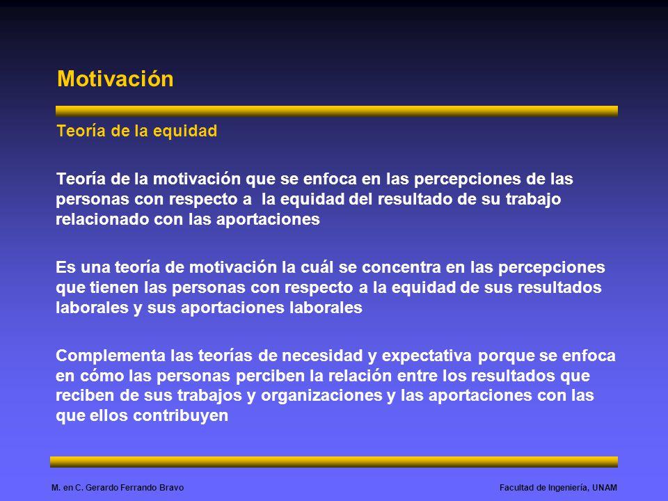 Facultad de Ingeniería, UNAMM. en C. Gerardo Ferrando Bravo Motivación Teoría de la equidad Teoría de la motivación que se enfoca en las percepciones