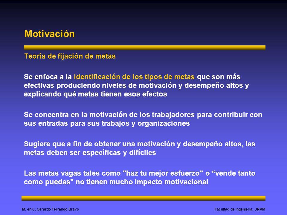 Facultad de Ingeniería, UNAMM. en C. Gerardo Ferrando Bravo Motivación Teoría de fijación de metas Se enfoca a la identificación de los tipos de metas