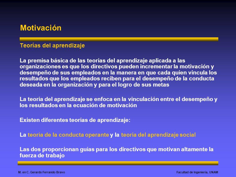 Facultad de Ingeniería, UNAMM. en C. Gerardo Ferrando Bravo Motivación Teorías del aprendizaje La premisa básica de las teorías del aprendizaje aplica