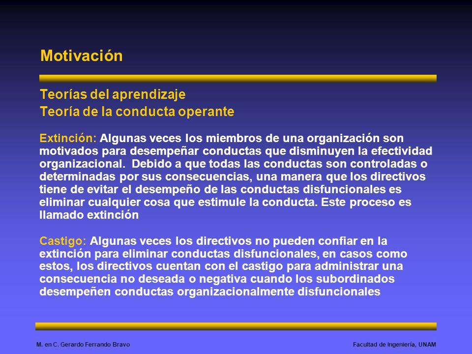 Facultad de Ingeniería, UNAMM. en C. Gerardo Ferrando Bravo Motivación Teorías del aprendizaje Teoría de la conducta operante Extinción: Algunas veces