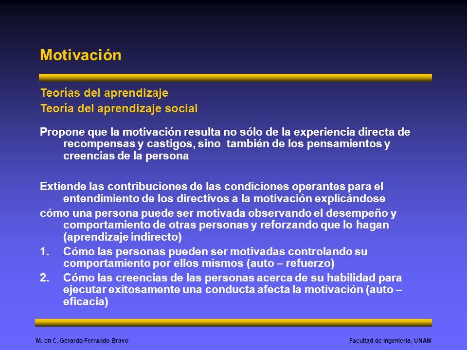 Facultad de Ingeniería, UNAMM. en C. Gerardo Ferrando Bravo Motivación Teorías del aprendizaje Teoría del aprendizaje social Propone que la motivación