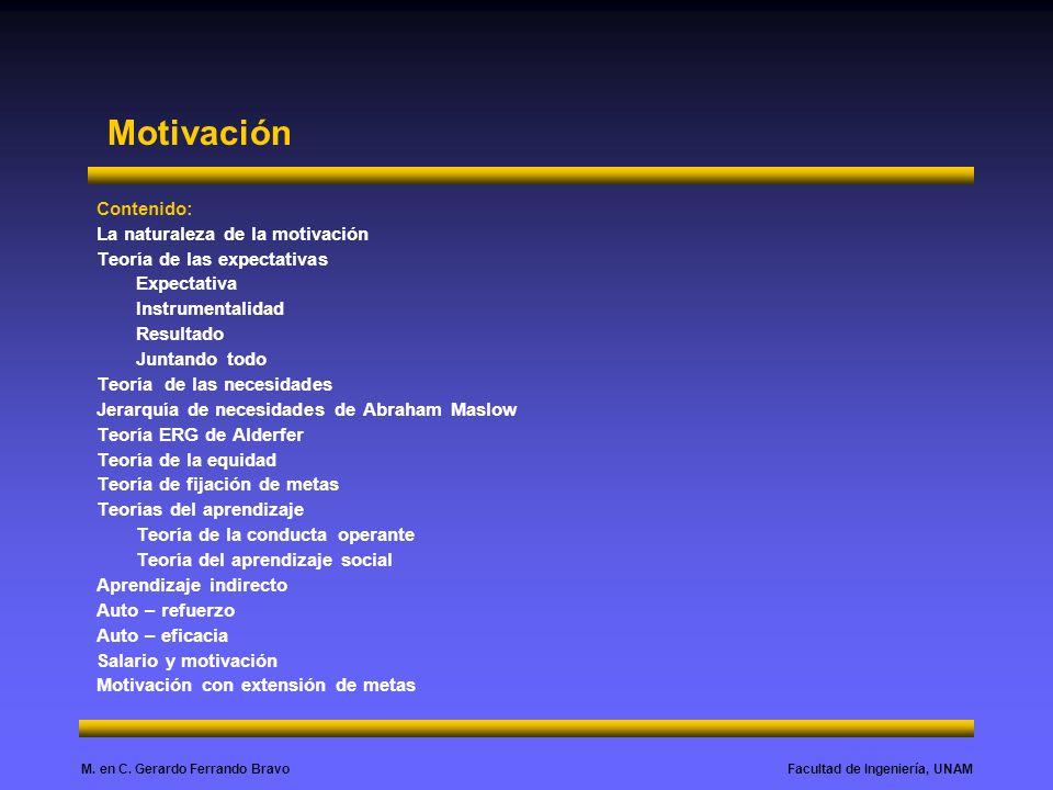 Facultad de Ingeniería, UNAMM. en C. Gerardo Ferrando Bravo Motivación Contenido: La naturaleza de la motivación Teoría de las expectativas Expectativ