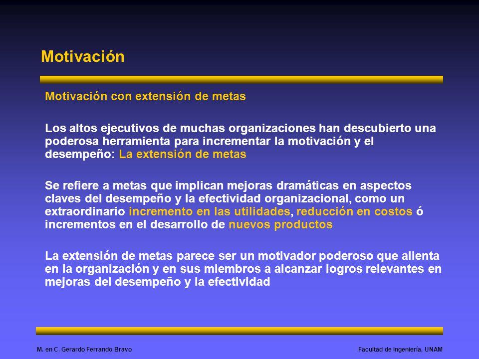 Facultad de Ingeniería, UNAMM. en C. Gerardo Ferrando Bravo Motivación Motivación con extensión de metas Los altos ejecutivos de muchas organizaciones
