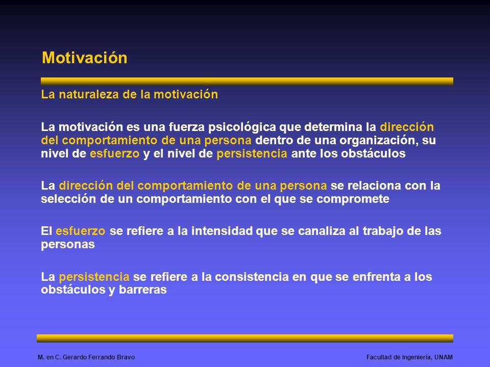 Facultad de Ingeniería, UNAMM. en C. Gerardo Ferrando Bravo Motivación La naturaleza de la motivación La motivación es una fuerza psicológica que dete